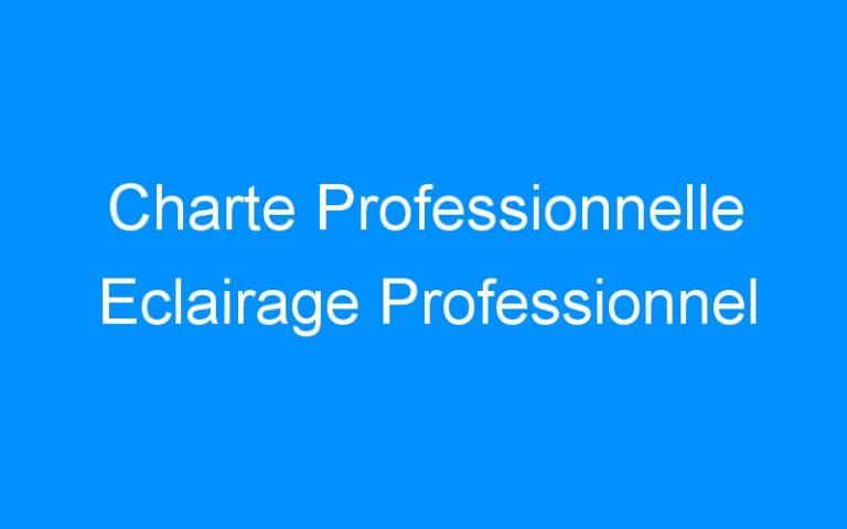 Charte Professionnelle Eclairage Professionnel