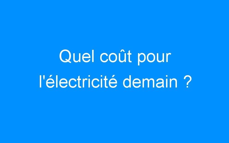 Quel coût pour l'électricité demain ?
