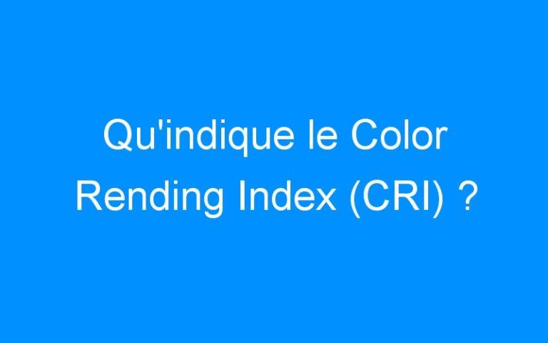 Qu'indique le Color Rending Index (CRI) ?